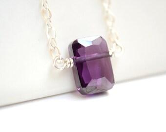 Amethyst Necklace, Purple Rectangle Pendant, February Birthstone Jewelry