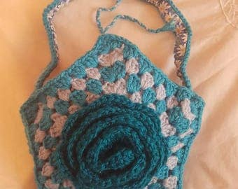 Aqua star flower crochet handbag teal blue turquoise handmade summer daisy bag