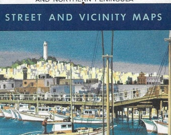 Vintage Mid Century Chevron Gasolines Travel Road Map - San Francisco and Northern Peninsula