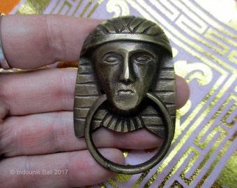 Egyptian Pharaoh Brass Ring Drop Handle Drawer Pull