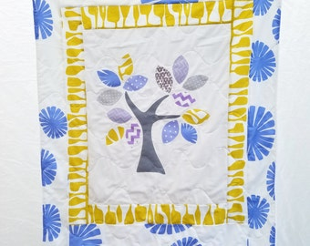 Lavender and yellow applique baby blanket, tree of life baby quilt