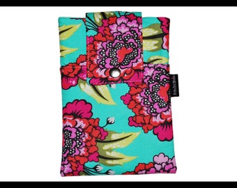 Aqua Bloom Zipper Cell Phone Holder, Wallet, iPhone Case, Samsung Case, Droid, Phone Case