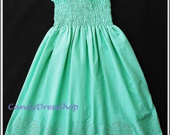 Mint green beach flower girl dress, Beach wedding flower girl dress, Mint green dress for girls, Green party dress, Mint green eyelet dress,