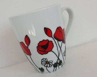 Wondeful Poppies, handpainted white mug