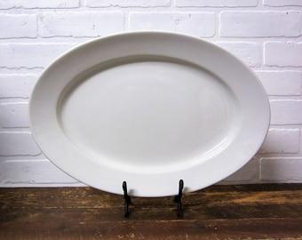 """Large Vintage Maddock & Co Burslem England 16"""" Stone China White Ironstone Serving Platter"""
