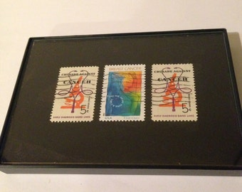 """Cancer - Recycled Postage Stamp Framed Art 3.5""""x5"""", breast cancer, cancer awareness, Cancer survivor, cancer research, cancer gift, fighter"""