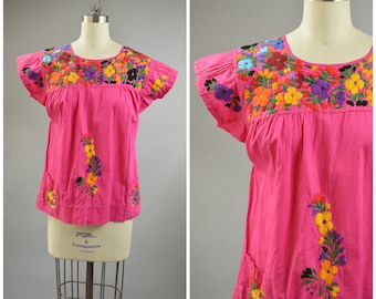 Pink Cotton Mexican Top Size Medium Floral Embroidered Blouse Cute Summer Top Boho Festival