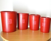 Tupperware Red 4-piece Canister Set