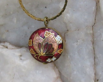 Vintage Butterfly Necklace, Red & Gold Tone Butterfly, Insect Jewelry, Sweet 16, Autumn Wear, Valentine's Day Gift, Mothers Day Present