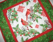 Christmas Table Topper, Candle Mat, Snack mat, mug rug, Cardinals, Holly, birds, quilted, fabric from Windham