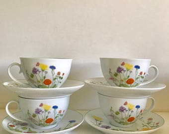 "1974 Tabletop Designs Denby ""Wonderland"" Cup and Saucers"