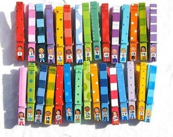 30 STUDENT CLOTHESPINS classroom colorful hand painted numbered pegs