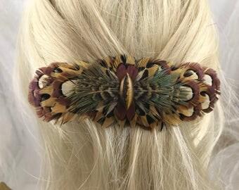 Natural Pheasant Feather Hair Barrette, Natural Pheasant Feather Hair Clip, Natural Brown and Gold Big French  Barrette,Natural Feather Clip
