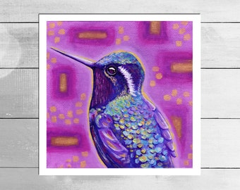 Hummingbird on pink and gold Art Print - Limited Edition