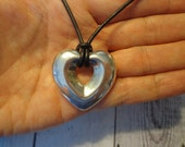 Vintage 925 Sterling Silver Heart Pendant on Leather Cord w/ Sterling End Caps and Hook Clasp