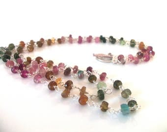 Tourmaline Rainbow Gemstone Handmade Necklace with Sterling Silver Extra Long