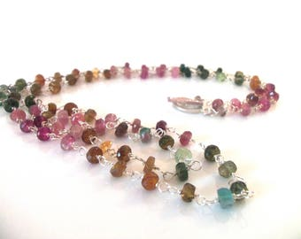 Watermelon RainbowTourmaline Gemstone Handmade Necklace with Sterling Silver Extra Long