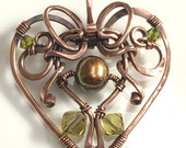 Valentine Heart Hand Forged Copper Pendant by Jeanine