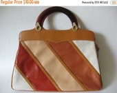 40% OFF Super striped vintage vinyl purse handbag Cabrelli Canada plastic handle convertible