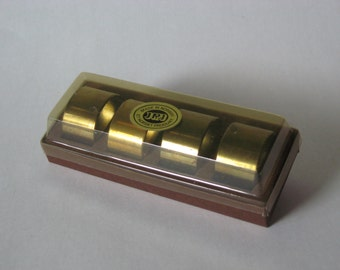 JRJ Norway set of four solid vintage oval brass dinner napkin rings original package
