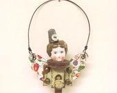 Original Handmade Steampunk Fairy Assemblage Art Doll Head Keepsake Ornament