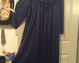 Nightgown full sweep 2X maxi nylon long slv Navy/lace top ruched