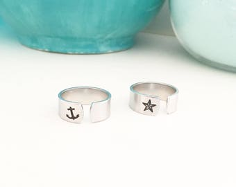 Anchor Midi Ring, Nautical Star Ring, Nautical Jewelry, Anchor Jewelry, Knuckle Ring, Mid Finger Ring, Nautical Ring, Beach Boho