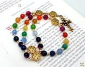 Rainbow Agate Anglican Rosary with TierraCast Fleur Pewter Cross