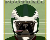 Philadelphia Eagles Pug Dog Football Player - Philadelphia Eagles poster - Tan Pug or Black Pug - Eagles fan gift - Fathers Day gift