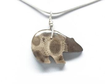 Petoskey Stone Bear Pendant