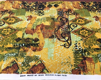 """Vintage Linen Polynesian Tribal Print Fabric or Tablecloth 45"""" wide x 84"""" Yellow, Black and Green Print- Polynesian fabric, tribal fabric"""
