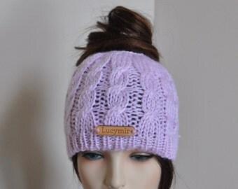 Messy Bun Beanie Ponytail Hat Messy Bun Hat Ponytail Beanie Hat Beanie with hole Mom Life Hat Choose Color Gift under 25