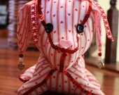 Decorative Stuffed Dog in White with Red Hearts and Red sequin Trim