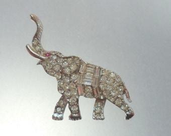 PELL Elephant Brooch Clear Crystal Rhinestone Encrusted Silver Setting Unsigned