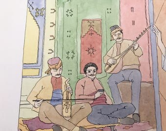 Original watercolor-Hassan- armenian tale-musicians portraits