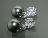 RESERVED Swarovski 12mm Dark Grey Pearl Silver Cubic Zirconia Earrings