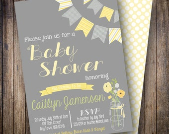 Mason Jar Baby Shower Invitation, Floral Baby Shower Invite, Printable Banner Baby Shower Invitation in Shades of Yellow, Green, Gray