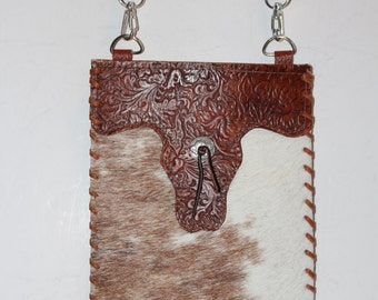 Cowhide and Tooled Leather Crossbody