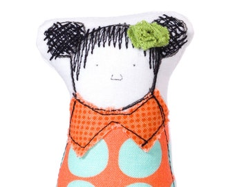 Fabric doll , Textile art , Unique gift , Modern Nursery , Portrait dolls , family toy , Pocket doll , soft doll , Miniature figure doll