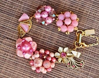 Upcycled Vintage Earring Bracelet, Gift for Her, Bridesmaid gift set, Cluster, Thermoset, Rhinestone, Flower, Jennifer Jones OOAK, Lavender