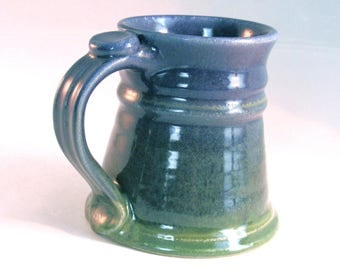 Blue Stein - 12 oz. - Tankard - Renaissance Stein - Coffee Mug - Handmade Pottery -  Denim Jeans Blue and Bright Green