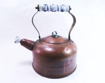 Copper Porcelain Tea Kettle Vintage 70s
