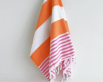 NEW / SALE 50 OFF/ Turkish Beach Bath Towel / Orange - Pink / Wedding Gift, Spa, Swim, Pool Towels and Pareo