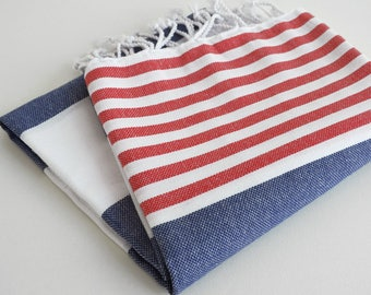 NEW / SALE 50 OFF/ Turkish Beach Bath Towel / Navy - Red / Wedding Gift, Spa, Swim, Pool Towels and Pareo