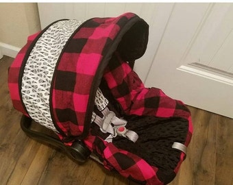 SALE Large plaid car seat cover with arrowhead accents- Baby Seat Covers By Jill -free strap covers- baby boy seat cover