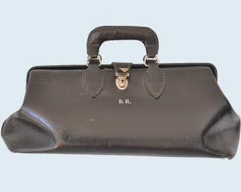 1930s Black Leather Doctors Bag