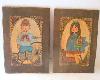 ON SALE.......Vintage folk art paintings on Wood