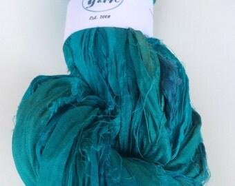 Sari silk ribbon, 200g, knit, aquamarine. Art yarn, knitting ribbon, ethical yarn. Upcycled yarn.