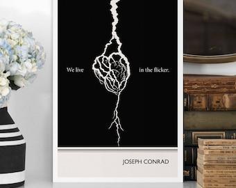 "Literary Art Print, ""Joseph Conrad"" Large Wall Art Posters, Literary Quote Poster, Illustration, Minimalist Prints, Bookish Gift for Writer"