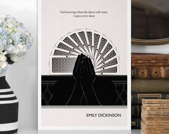 "Literary Prints, ""Emily Dickinson"" Quote Minimalist Poster, Large Wall Art Print, Illustration, Dorm Wall Art, College Student Dorm Decor"